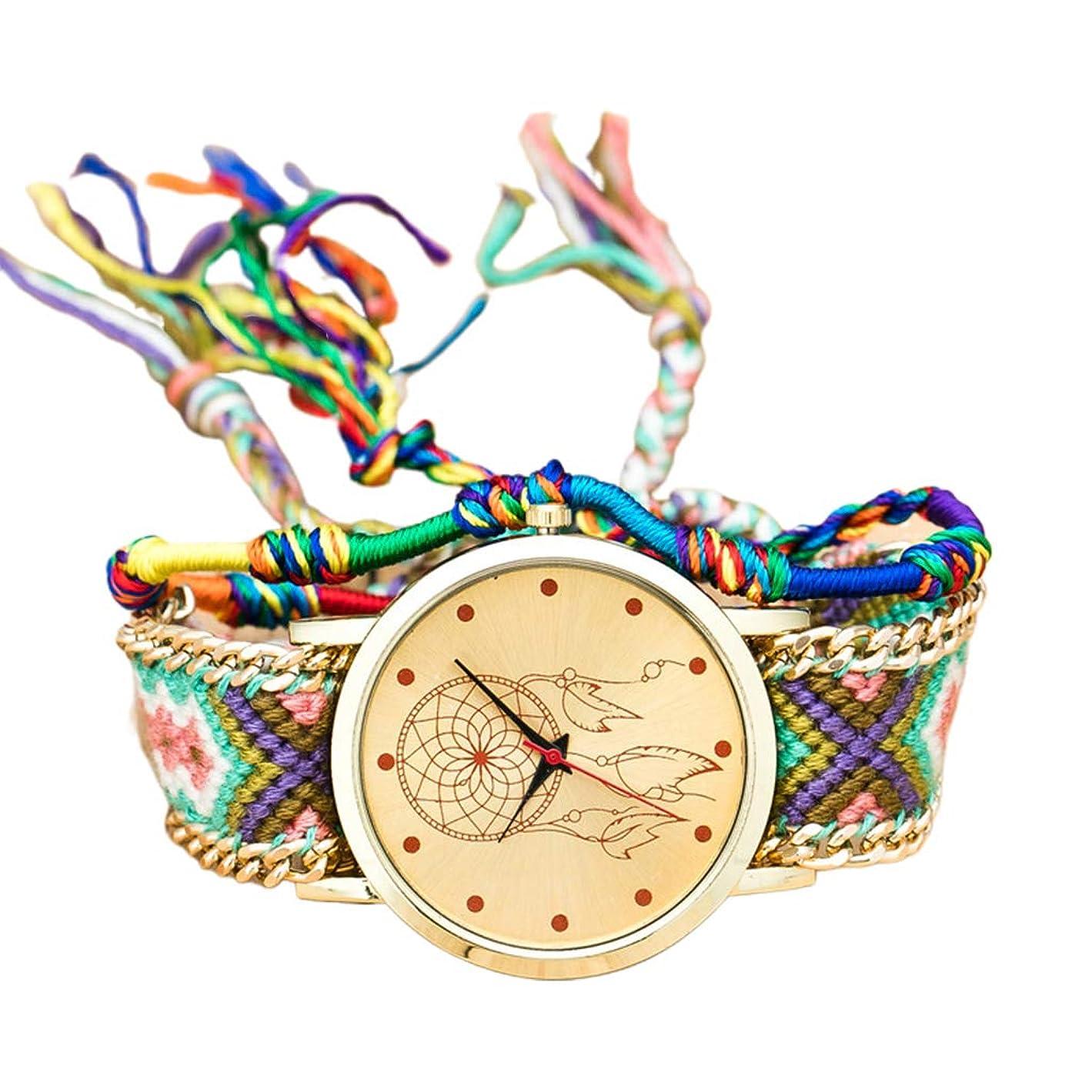 懐観点コンピューターゲームをプレイするファッションエスニックスタイルの女性と女性の織り時計新しい民族織りベルトクォーツブレスレット腕時計2D