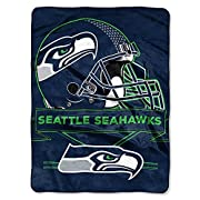 """Measures 60-inches by 80-inches 100% polyester NFL Seattle Seahawks Prestige Plush Raschel Blanket, 60"""" x 80"""", Blue Made in China These Authentic throws make you feel like you're apart of the team while you're watching from the comfort of your home"""