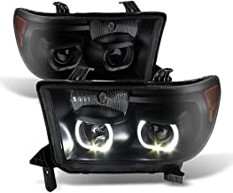 ACANII - For Black Smoked 2007-2013 Toyota Tundra 08-17 Sequoia LED Projector Headlights Headlamps Driver + Passenger