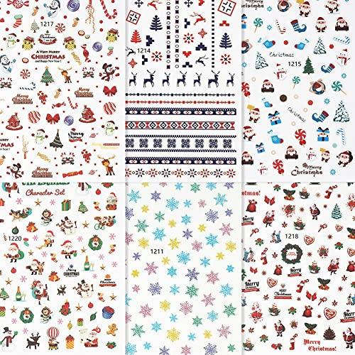 12 fogli di adesivi per unghie artistiche natalizie, adesivi per unghie autoadesivi 3D, decalcomanie per unghie fai da te a forma di fiocco di neve con pupazzo di neve, strumenti per manicure colorati