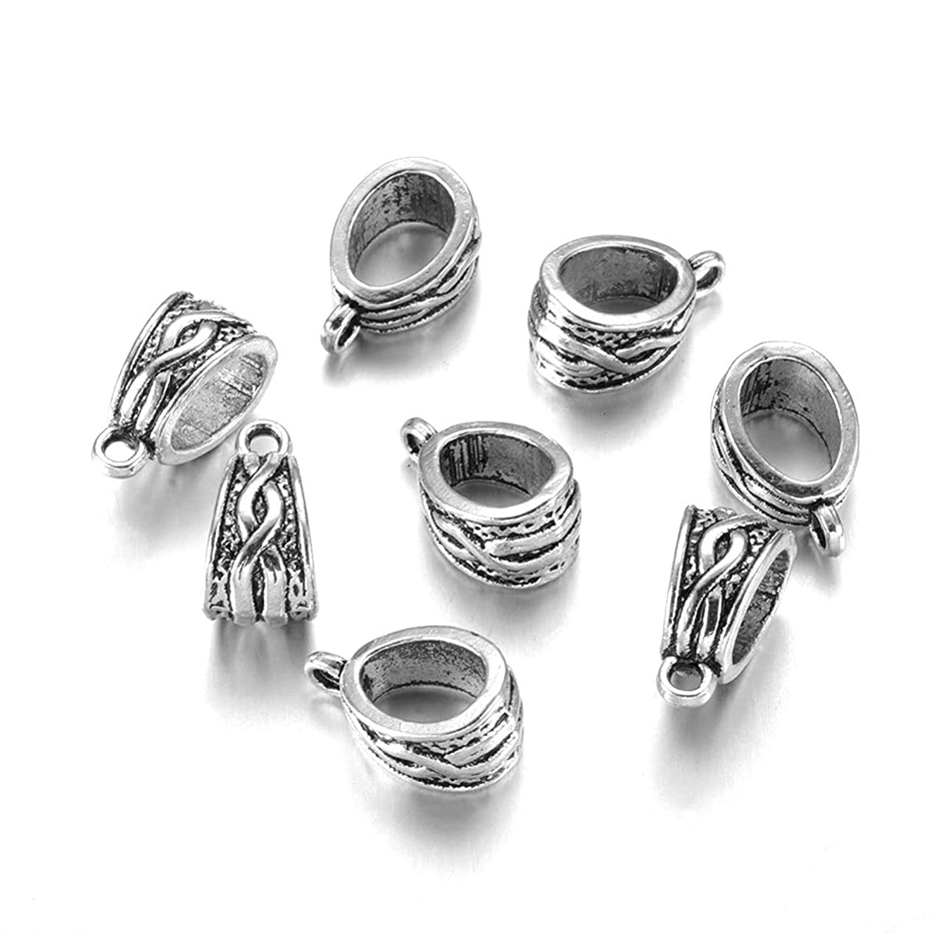 Craftdady 20Pcs Tibetan Antique Silver Hanger Bail Beads Lead Free & Cadmium Free for Charm Pendant Making 14x7.5mm