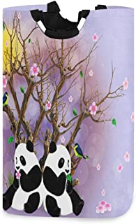 Panda Under The Tree Panier À Linge Panier Vêtements Sale Sac Rose Floral Et Animal Seau Pliable Poubelle De Lavage Organi...