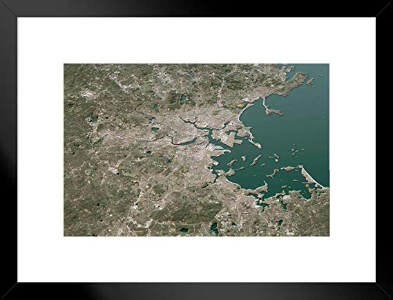 Boston Massachusetts topográfica 3D Paisagem Poster Mapa 18x12