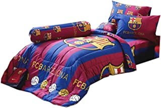 Tamegems Bedding FCB Barcelona Fc Football Club Soccer Team Official Licensed Bed Sheet Set, 1 Fitted Bed Sheet, 2 Pillow Case, 1 Bolster Case (Not Included Comforter) BC001 Set B (Queen 60