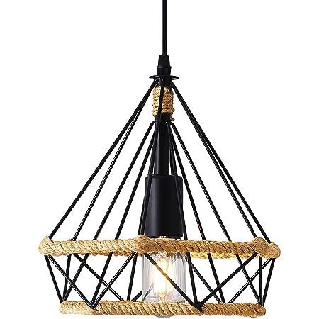Lampe à Suspension Vintage,Lustres en corde de chanvre Rétro,Suspension Industrielle,Suspension en forme de diamant,Plafonniers,Suspension Créative,25 cm
