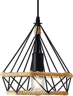 Lampe à Suspension Vintage,Lustres en corde de chanvre Rétro,Suspension Industrielle,Suspension en forme de diamant,Plafon...