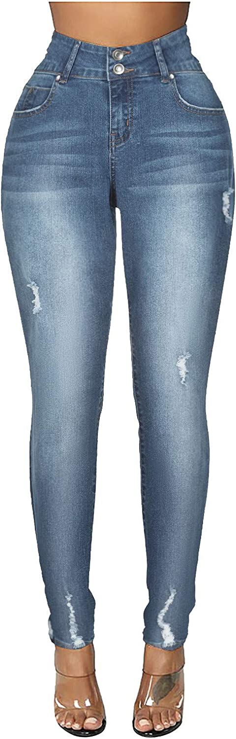 Jeans for Women,Women's Fashion High Waist Stretchy Pocket Solid Ripped Jeans Pencil Trouser Denim Pants