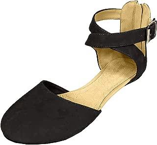 SODA Women's KINER Darling Almond Toe Criss Cross Ankle Strap Flat
