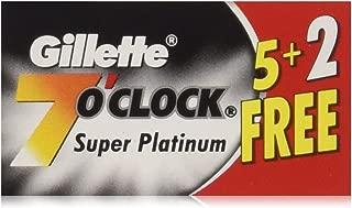 140 7 O'clock Super Platinum Double Edge Safety Razor Blades (20 tucks of 7 blades on a display card) - AKA 7'Oclock Black