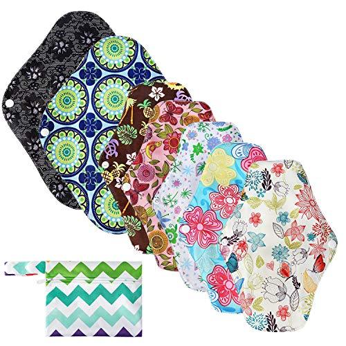 NEWSTYLE Waschbare Stoffbinden,7Stück Slipeinlagen Waschbar aus Bambusfaser, Wiederverwendbare Binden 1 Mini Tasche,Damenbinden für Menstruation, Inkontinenz, Postpartale Blutungen (30cm×2, 26cm×5)
