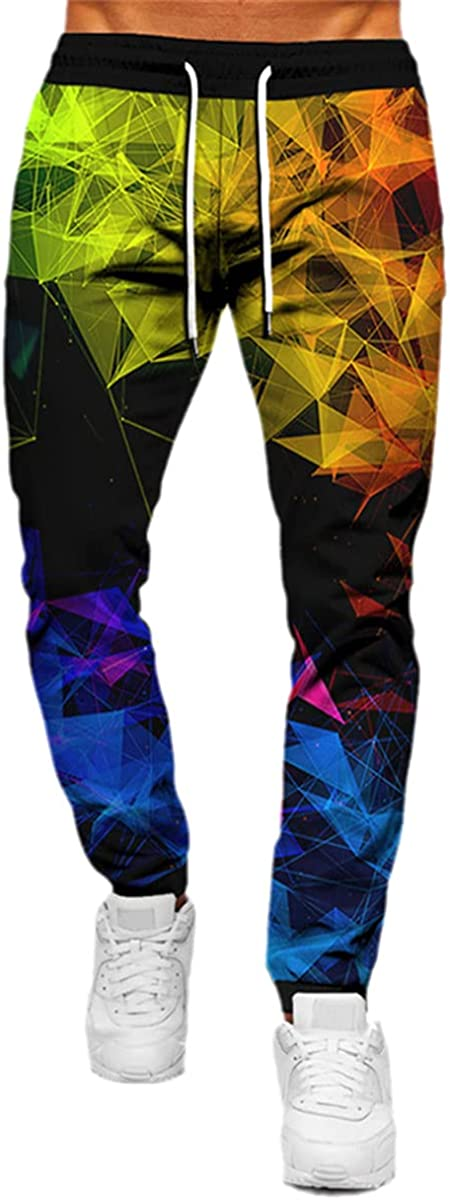Casual Streetwear Novelty Trousers Unisex 3D Changeable Diamond Pattern Printing Adult Trousers