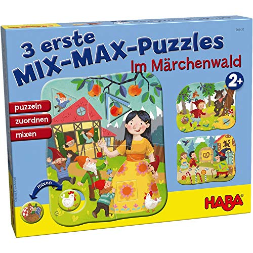 Haba 304432 – 3 eerste mix-max-puzzels – in sprookjesbos, toewijzingsspel en puzzel vanaf 2 jaar