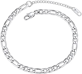 Chain Anklet Bracelets Thick Stainless Steel Chain Anklet 6mm 8.5 inch Figaro Foot Chain