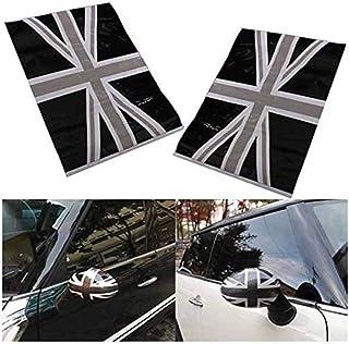 Alamor 2 stuks zwarte Union Jack Flag Vinyl Spiegels Stickers compatibel met Mini Cooper