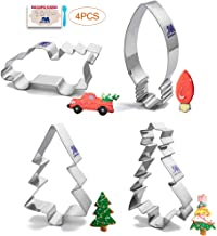 Christmas Tree cookie cutter Set Holiday tree cookie cutter winter cookie cutter, Tree, Tree with star, Vintage Pickup Truck with Christmas Tree, Light bulb Fondant, Birthday Party Stainless Steel