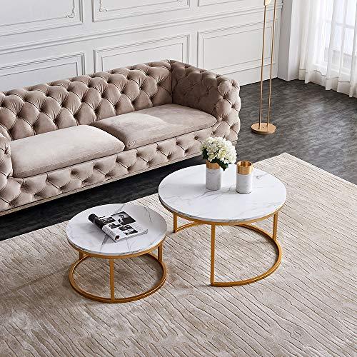 Nyyi Couchtisch 2er Set, Beistelltisch-Set rund, Moderne Sofatische, minimalistisch, Couchtische mit Goldene Metallbeine, Tischkombination fürs Wohnzimmer, Balkon, klein Satztisch Set, Weiß