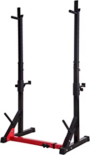 Ollieroo Barbell Rack Barbell Stand Height Adjustable Dip Stand Gym Family Fitness Squat Rack Weight Lifting Bench Press Dipping Station with Barbell Plate Rack, Height Range 46.8''-68.1''