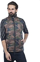 BURDY Men's Sleeveless Solid Light Weight Army Print Jacket (Multicolour, 40)