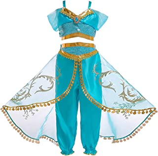 JiaDuo Girls Princess Jasmine Costume Halloween Party Dress Up