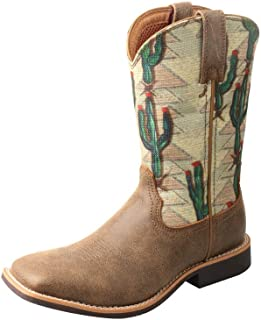 Twisted X Boys' Cactus Canvas Western Boot Wide Square Toe