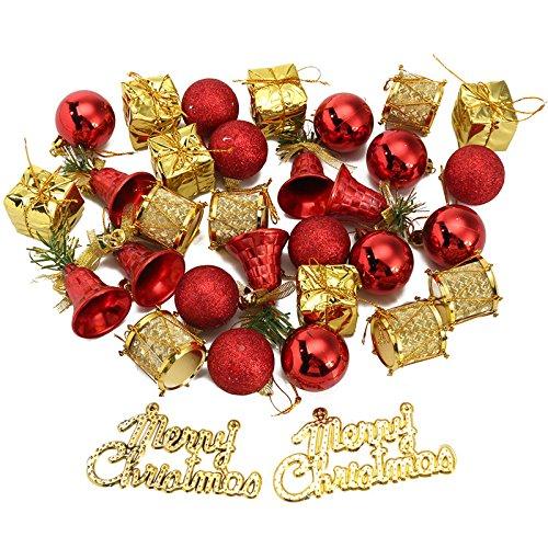 VIDOO 32Pcs Albero di Natale Decorazione Balle Tamburi Campane Baubles Ornamenti Bambini Bambini Forniture-Rosso