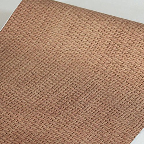 Yifely Light Brown Weave Wood Grain Furniture Paper Self-Adhesive Shelf Liner Door Sticker 17.7 Inch by 9.8 Feet
