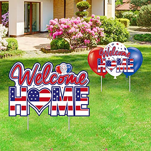Kauayurk 2Pcs Welcome Home Yard Sign Party Supplies Decor - Patriotic Homecoming Outdoor Lawn Sign Decorations - Military Army Deployment Returning Yard Décor Stakes
