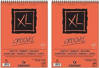 Canson XL Croquis Lot de 2 Albums de Papier à dessin spiralés petit côté 120 feuilles 90 g A4 Ivoire