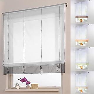 comprar comparacion LianLe cortina romana persianas Sheer elevables Organza bordado Kitchen cortinas cortina de ventana, Gris, E:140*155cm/55