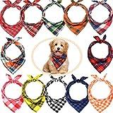 12 Stück Hundehalstücher – Dreieckstuch für Hunde, waschbar, wendbar, bedruckt, Lätzchen Hund...