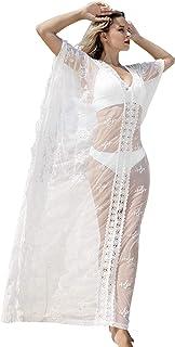 Women Sexy Lace Cover Up, Long Rayon Loose Kaftan Dress Beachwear