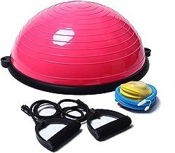 ISE Balance Trainer Fitball Bola de Equilibrio para Entrenamiento, Media Bola de Gimnasia Ø 58cm, Gym Pelota Balón Semiesfera de Resistencia con Inflador y Cables para Pilates, Yoga y Fitness,BAS1001