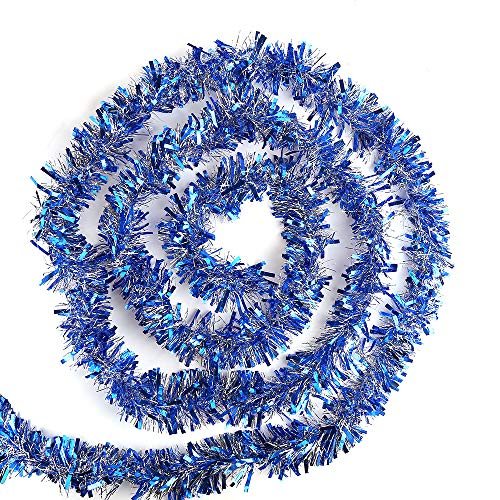 CCINEE 33 Feet Blue Christmas Tinsel Garland for Christmas Tree Ornaments Party Ceiling Hanging Decorations,3.5 inch Wide