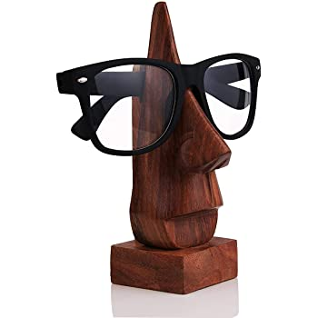 storeindya Wooden Handmade Face-Shaped Eyeglass Spectacle Holder,Eye wear Retainer Spectacle Display Stand Sunglasses Holder