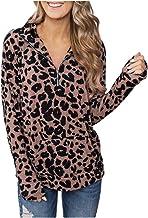 Women Tops Fashion Zipper Lapel Leopard Print Casual V-Neck Long Sleeve Pullover