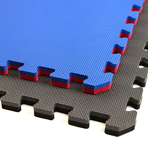 IncStores - Jumbo Soft Interlocking Foam Tiles - Perfect for Martial Arts, MMA, Lightweight Home Gyms, p90x, Gymnastics, Cardio, and Exercise (Black/Grey, 1 Tile (4 Sqft))