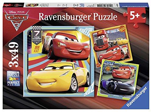 Ravensburger-4005556080151 Puzzle 3 x 49 Piezas, Cars 3, Multicolor, (8015)