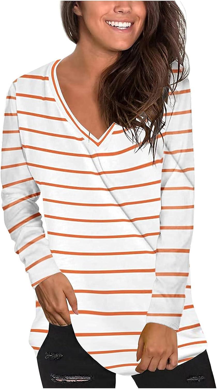 Long Sleeve Tee Shirts for Women,Women V-Neck Printing Loose Casual Fashion Autumn T-shirt Tops Tunic