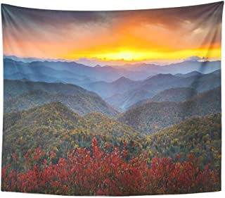 Emvency Wall Tapestry Red Fall Blue Ridge Parkway Autumn Appalachian Mountains Sunset Western Nc Scenic Landscape Vacation Destination Orange Decor Wall Hanging Picnic Bedsheet Blanket 60x50 Inches