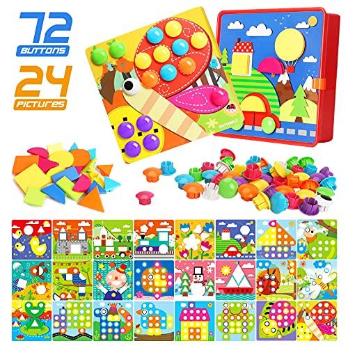 Gxi Juguete de Uñas de Botón Tablero de Mosaico de ColoresJuguetes Educativos de Aprendizaje Temprano para Niños y Niñas