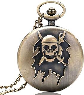 YXZQ Pocket Watch, Bronze Pirate Skull Watch Pocket Necklace Pendant Gift for Men Women Pocket watch