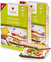 Lizza Low Carb Toasties Organic Gluten Free Vegan High in Protein and Fibre Suitable for Keto Low Carb Diabetic and Vegan Diet Only 6 Carbohydrates 2 x 4 Toasties Estimated Price : £ 9,99