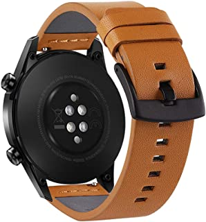 22mm Top Grain Leather Watch Strap Quick Release Replacement Watchband Smart Watch Band with Buckle Clasp for Men Women Co...