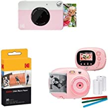 KODAK PRINTOMATIC Digital Instant Print Camera (Pink), with Extra Paper and Kids Instant Print Camera & Video Camcorder Bundle with Frames, Filters for Hours of Fun - Pink