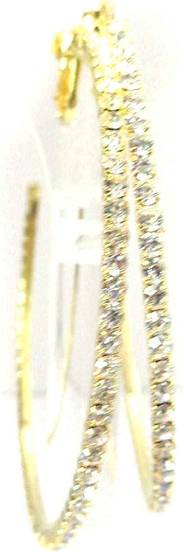 Clip-on Earrings Gold Rhinestone Hoop Earrings Crystal 2.5 inch Hoop Earrings Non Pierced Ears