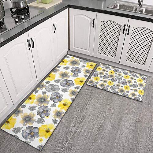 Non Slip Kitchen Floor Mat Flower Watercolor Gray Yellow Art Set 2 Piece Kitchen Rug