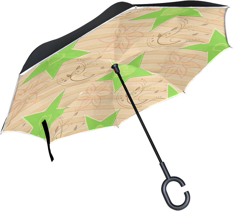 Double Layer Ingreened Desktop Beige Beige Umbrellas Reverse Folding Umbrella Windproof Uv Predection Big Straight Umbrella for Car Rain Outdoor with CShaped Handle