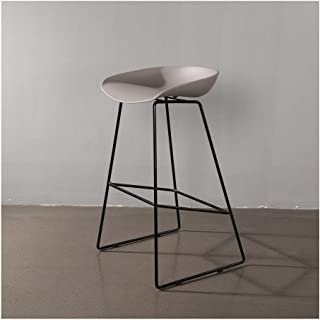 Industrial Bar Stools Grey PP Seat Metal Legs Barstool Kitchen Breakfast Restaurant Bar Chairs with Footrest (Size : 65cm)