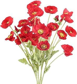 66cm GASPER Künstliche Mohnblume rot mit 2 Blüten und Knospe H