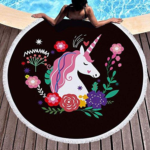 Marber Toalla de Playa Unicornio Toallas de Playa Redondas de Microfibra Grande 150 cm x 150 cm...